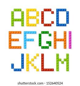 Plastic construction blocks alphabet. Vector.