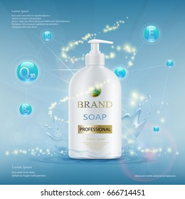 Plastic container with hygienic soap. Advertising mock-up template. Stock vector illustration.