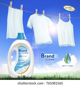 Plastic container with laundry detergent. Mock-up package with label design. Washing white clothes hanging on the rope. Stock vector illustration