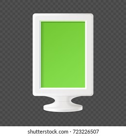 Plastic container on stand in smooth white corpus with green rectangular panel isolated realistic vector illustration on white background.