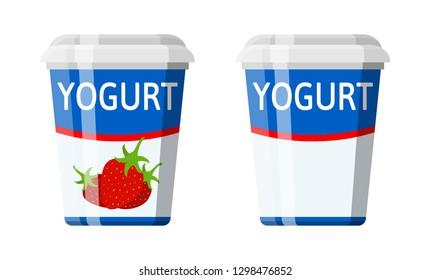 Plastic container with yogurt. Strawberry yogurt dessert. Food plastic glass. Milk product. Organic healthy product. Vector illustration in flat style