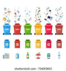 Plastic containers for different trashes. Color containers for garbage and trash. Recycling garbage elements. Vector flat illustration.