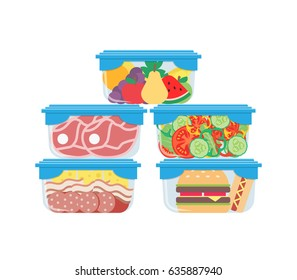 plastic containers with food meat burger fruits vegetables on white background