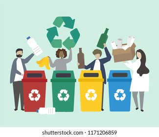 Plastic containers for garbage of different types