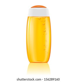 Plastic cosmetic bottle with bubbles in yellow shampoo, shower gel, lotion or bath foam. Ready for your design. Vector illustration.