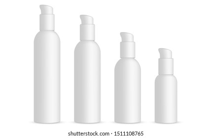 Plastic cosmetic bottles with dispenser pump isolated on white background. Vector illustration