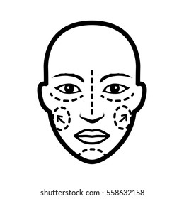 Plastic / cosmetic surgery on face with dotted lines flat vector icon for medical apps and websites