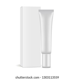 Plastic cosmetic tube with paper box mockup isolated on white background. Vector illustration