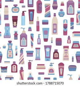 Plastic cosmetics bottle, dispenser, container, jar, tube seamless pattern. Cartoon shampoo, cream, lotion, scrub, perfume, soap, moisturizer collection. Vector flat texture on white, fabric flap