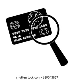Plastic credit card with a magnifying glass. Detective looking for fingerprints.Detective single icon in blake style vector symbol stock illustration.