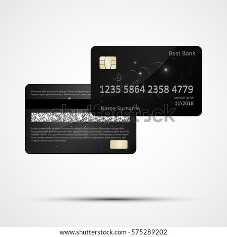 plastic credit card templates isolated two side vector eps 10 detailed glossy - Plastic Credit Card