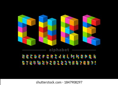 Plastic cubes font, childrens toys alphabet letters and numbers vector illustration