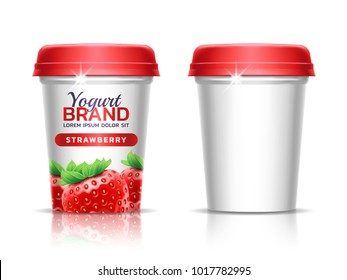 A plastic cup with lid for dairy products. Paper cup for drinks. Package design template. 3d realistic illustration. Theme of fermented dairy products, agricultural. Healthy dietary food.