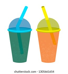 Plastic cup with a lid and straw, filled with cold carbonated drink. A vector image of a drink to quench your thirst.