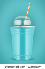 Plastic cup with smoothie and tube on color background. Presentation Poster for milkshake and lemonade and smoothie. Azure color. Vector Illustration.