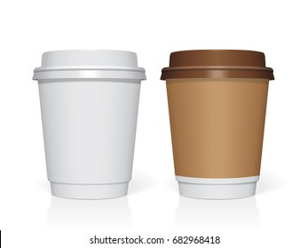 Plastic cup for your design and logo. It's easy to change colors. Mock Up. Vector template.