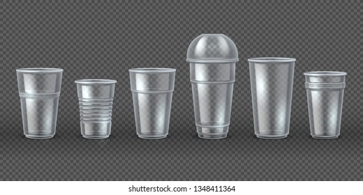 Plastic cups. Disposal coffee drink mugs isolated mockup, realistic 3D packaging for food and beverages. Vector disposable tableware set