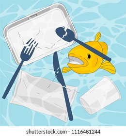 Plastic cutlery,container,wrapper end up in the ocean, break down into smaller peices called microplastic, fish may mistake fragments for food. Ocean plastic pollution concept. Vector illustration.