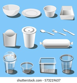 Plastic dishware or disposable tableware vector icons of soup bowls and plates, spoon, knife and fork. Single use cups, food storage container box and fast food snack dishes or drink paper packs