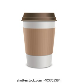 Plastic disposable cups of coffee. Design packaging. Isolated on white background. Stock vector illustration.