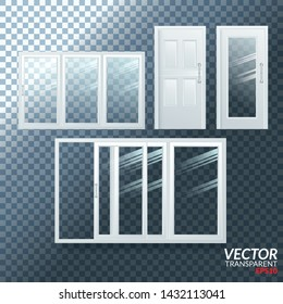Plastic Door Vector. Sliding. White Roller Shutter. Opened And Closed. Energy Saving. PVC Profile. Isolated On Transparent Background Illustration