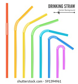 Plastic Drink Straw Vector. Colorful Drinking Straws. Different Types. Plastic Straight And Curved. For Celebration Background Design, Cocktail Party Menu Illustration