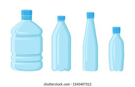 Plastic Empty Volume Bottles Vector Isolated Set