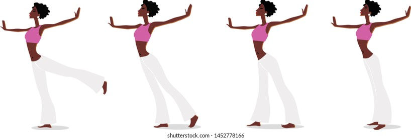 Plastic exercises and gymnastics. Girl with outstretched arms trains flexibility and balance. Vector image.