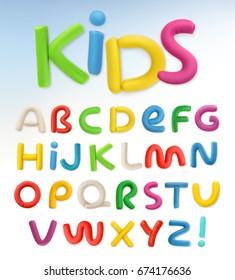 Plastic font. Children and school, 3d vector set.