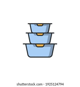 Plastic food containers icon, color, line, outline vector sign, linear style pictogram isolated on white. Symbol, logo illustration
