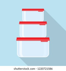 Plastic food containers with red lid. Lunchboxes. Vector illustration