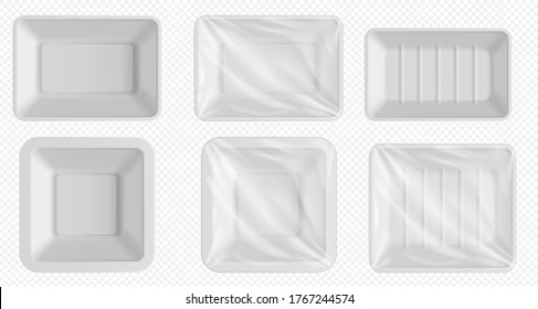 Plastic food tray. Styrofoam container for frozen food and fresh meat, fish, chicken. Empty food package with clear wrap isolated. Blank plastic tray template set on transparent background
