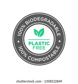 Plastic free. 100% Biodegradable and compostable icon. Round green and black symbol.
