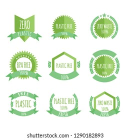 Plastic free, BPA free, Zero waste organic products stickers set, Eco friendly template concept.