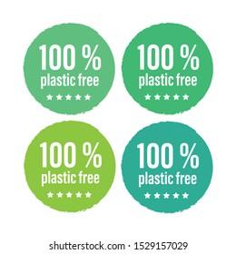 Plastic free green icon. Bpa 100 free plastic mark