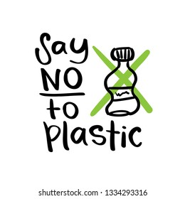 Plastic free lifestyle, zero waste, environment protection, save planet concept, say no to plastic text / Vector illustration design for prints, posters, stickers, t shirts etc