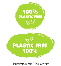 Plastic free product sign labels, stickers vector