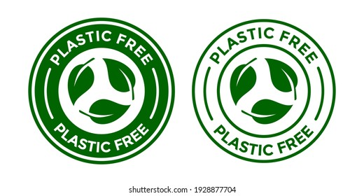 Plastic free vector logo template. This design use leaf symbol. Suitable for badge or label.