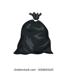 Plastic garbage bag icon. Container for trash isolated on white. Garbage recycling and utilization equipment. Waste management. Vector illustration in flat style