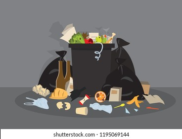 Plastic garbage bin full of trash. Overflowing garbage, food, rotten fruit, papers, containers and glass. Garbage recycling. Waste management Vector illustration in flat