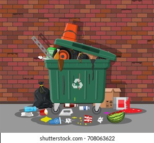 Plastic garbage bin full of trash. Overflowing garbage, food, rotten fruit, papers,containers and glass. Garbage recycling and utilization equipment. Waste management Vector illustration in flat style