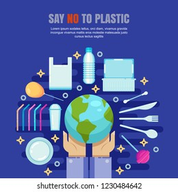 Plastic garbage pollution concept. Say No to plastic vector flat illustration. Ecology and environmental problem banner, poster design.