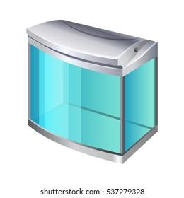 Plastic or glass rectangular container for use as a terrarium or aquarium. 3d isometric view.