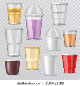 Plastic glass vector empty plastic-cup or blank coffee-cup mockup disposable drinks container for branding illustration realistic set of beverage takeaway isolated on transparent background