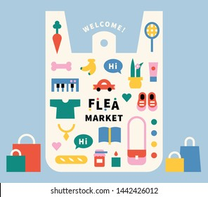 Plastic goods in plastic bags. Bag frame. Colorful children's education color icons. flat design style minimal vector illustration.