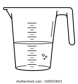 Plastic graduated beaker with handle. Vector outline icon isolated on white background.