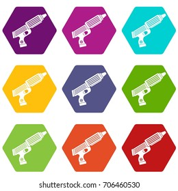 Plastic gun toy icon set many color hexahedron isolated on white vector illustration