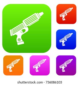 Plastic gun toy set icon color in flat style isolated on white. Collection sings vector illustration