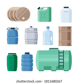 Plastic and iron containers liquid set. Production barrels for storing gasoline oil green canister with chemicals transparent blue dense bottles large volumes of drinking water. Vector flat style.