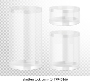 Plastic jar mockups. Vector illustration on transparent background. Layered file, easy to use for food, gifts, candy. EPS10.